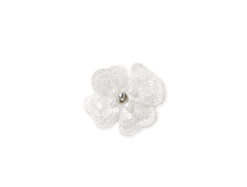 Hvid blomst på velcro (4 cm)