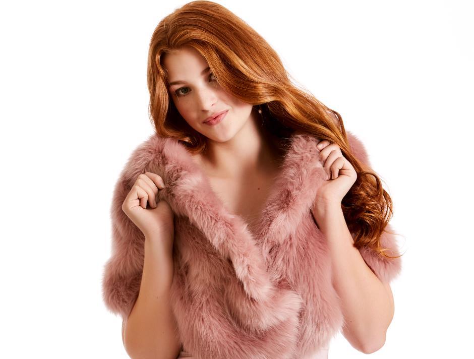 Fake fur wrap (Light Rose)