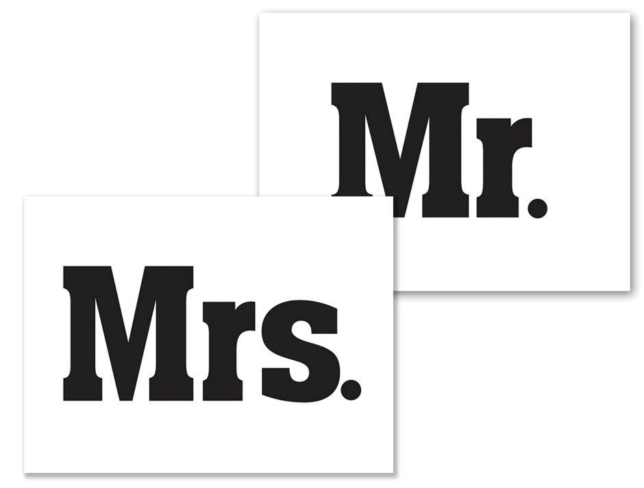Sko klistermærke: Mr. / Mrs. (1 af hver)
