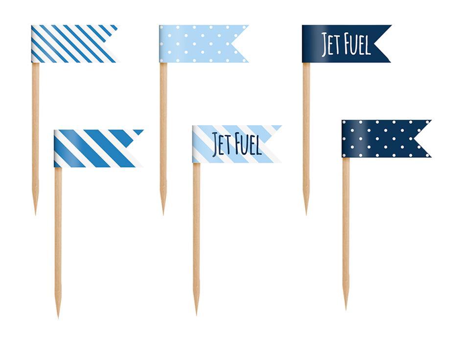 Cupcake flag: Blå miniflag (6 stk.)