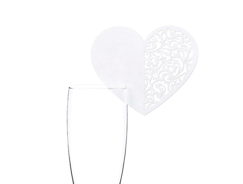 Hjerte bordkort til glas (10 stk.)