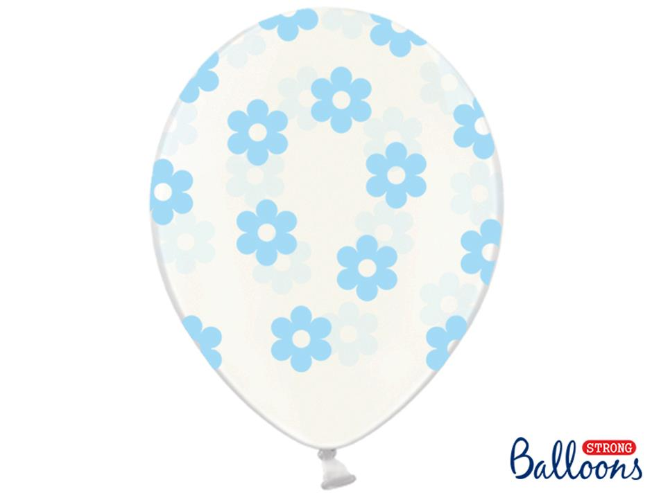 Ballon med lyseblå blomster (50 stk.)