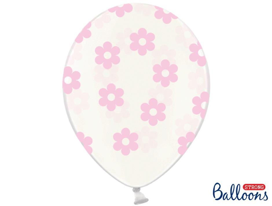Ballon med lyserøde blomster (50 stk.)