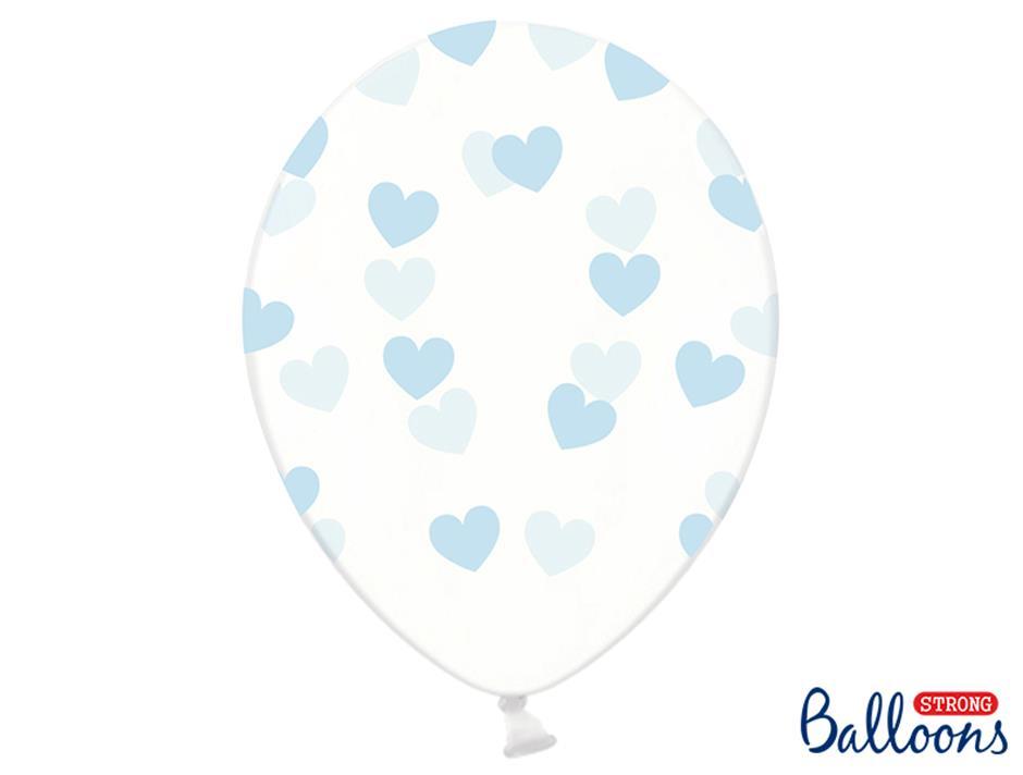 Ballon med lyseblå hjerter (50 stk.)