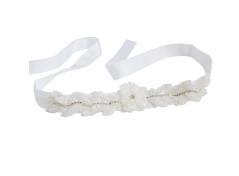 Gürtel mit perlen-Blume (Creme)