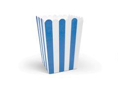 Popcorn bægre - blå stribet (6 stk.)