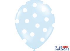 Lyseblå balloner med prikker (6 stk.)