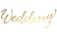 Guldfarvet banner Wedding