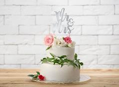 Mr&Mrs sølv cake topper (1 stk.)