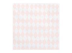 Servietter i lyserød og hvide tern (20 stk.)