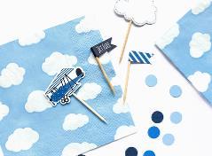 Lyseblå servietter med skyer (20 stk.)