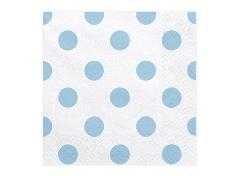 Hvide servietter med blå prikker (20 stk.)