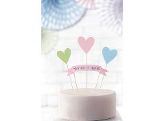 Pastel farvede Caketoppers (4 stk.)