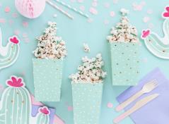 Popcorn box blå med prikker (6 stk.)