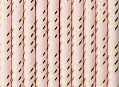 Lyserøde sugerør med guld (10 stk.)