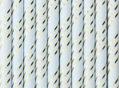 Lyseblå sugerør med striber (10 stk.)