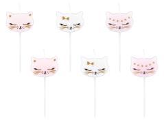 Nuttede lys med katte (6 stk.)