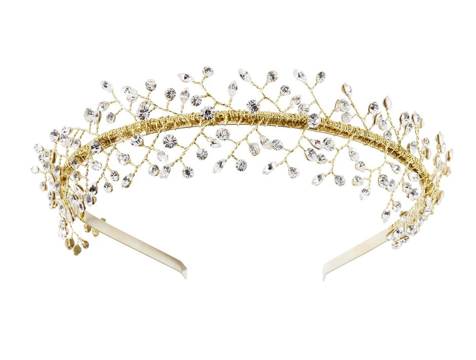 Golden tiara with rhinestones