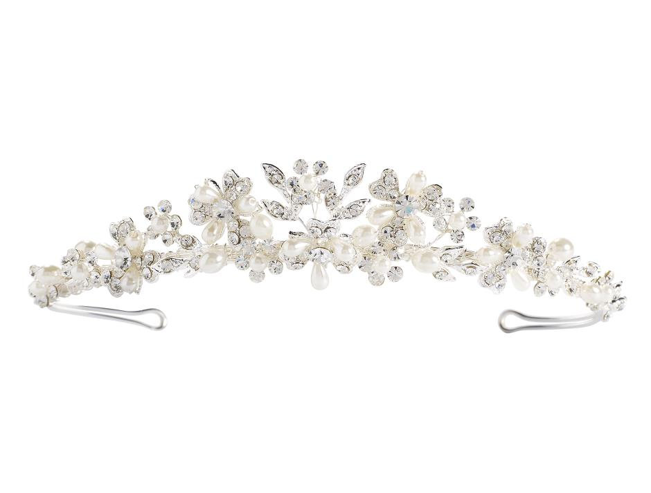 Tiara with rhinestones and pearls